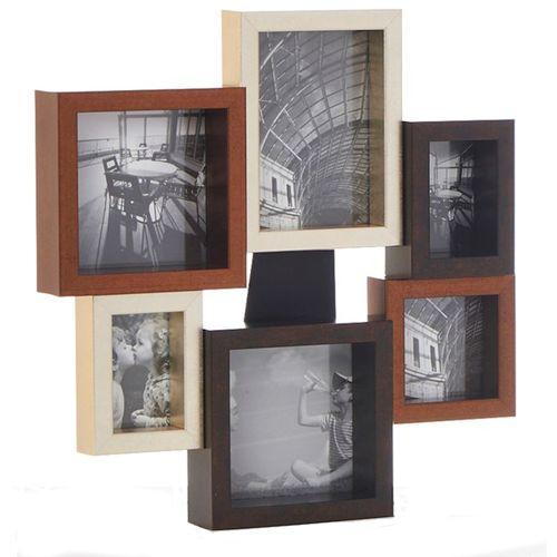 Chunky Metallic Wood Multi Collage Photo Frame 6 Pics
