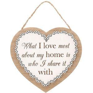 Chantilly Lace Heart Sentiment Plaque - Home