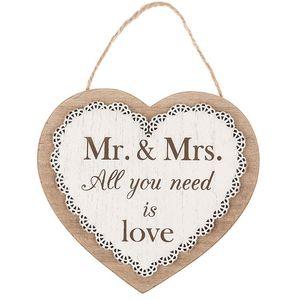 Chantilly Lace Heart Sentiment Plaque - Wedding