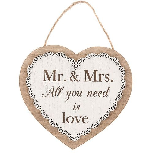 Mr & Mrs wedding gift heart plaque with sentiment verse