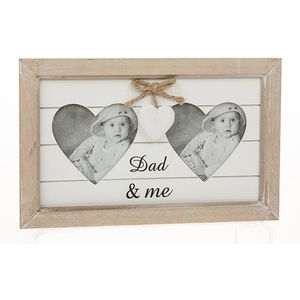 Double Heart Photo Frame Dad & Me