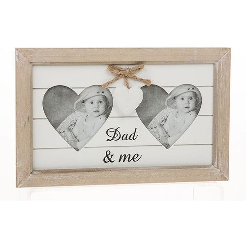 Double Heart Photo Frame - Dad & Me