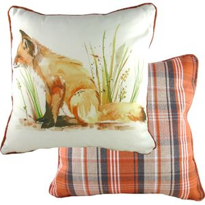 Evans Lichfield Country Piped Cushion: Fox 43cm