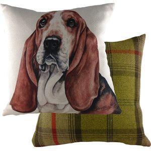 "Evans Lichfield Waggydogz Cushion Cover: Bassett Hound 17x17"""