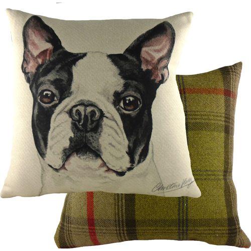 Evans Lichfield Waggydogz Cushion: Boston Terrier 43cm x 43cm