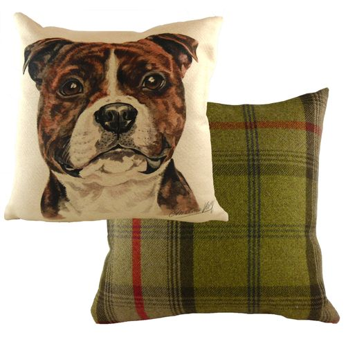 Evans Lichfield Waggydogz Cushion: Staffy Bull Terrier 43cm x 43cm