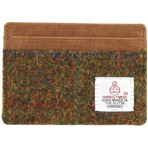Harris Tweed Card Holder Leather Trim: Stornoway Brown