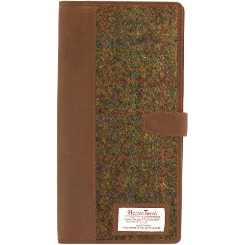 Harris Tweed Travel Document Holder Wallet - Stornoway Brown