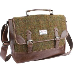 Harris Tweed Briefcase Satchel PU Trim: Stornoway Brown