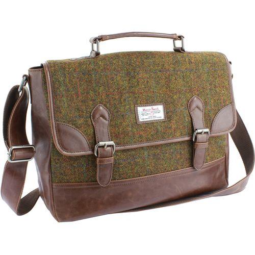 Harris Tweed PU Trim Satchel Briefcase: Stornoway Brown