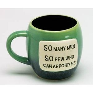 Glazed Pottery Mug with Humorous Phrase- So Many Men