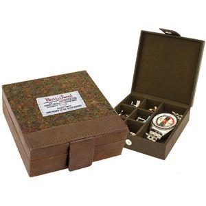 Harris Tweed Cufflink & Watch Box: Stornoway Brown