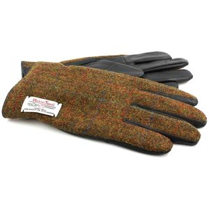 Harris Tweed Gloves: Stornoway Brown Check (Large)