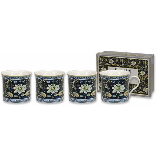 Heath McCabe Empress Set of 4 Mugs - Maiolica Blue/Giallo