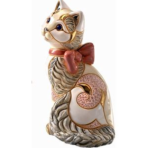 De Rosa Cat with Ribbon Figurine