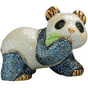 De Rosa Baby Panda Bear with Leaf Figurine