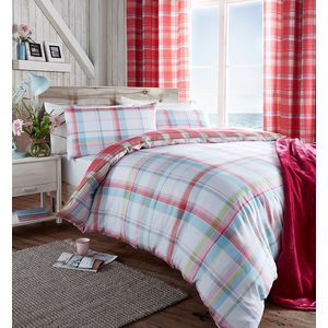 St Ives Check (pink) King Size Quilt Cover