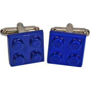 Retro Cufflinks - Blue Lego Brick