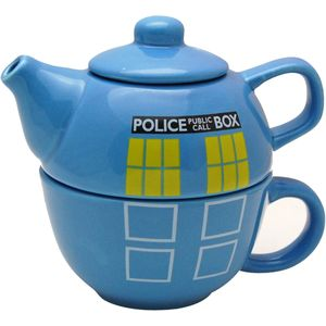 Vintage Teapot and Cup Set - Retro Police Telephone Box