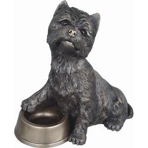 Westie with Bowl Bronze Statue Figurine
