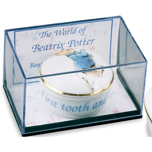 Reutter Porcelain Beatrix Potter Peter Rabbit First Tooth Curl Box