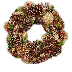 Christmas Wreath 32cm - Gold Pine Cones