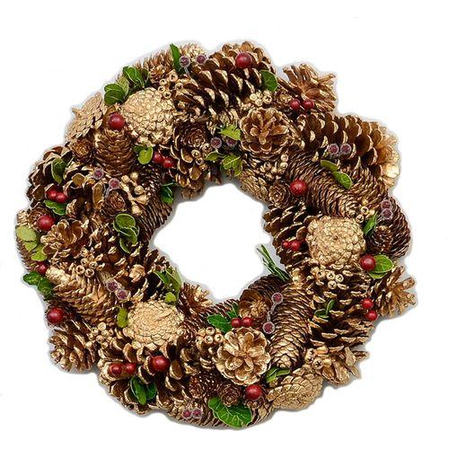 Christmas Wreath 36cm - Gold Pine Cones