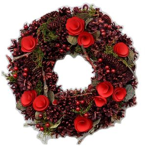 Festive Pine Cones & Flower Wreath Red (30.0cm)