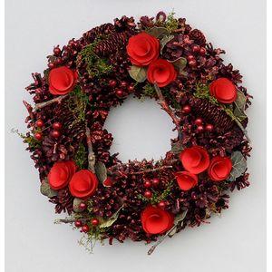 Christmas Wreath 24cm - Red Pine Cones & Flowers