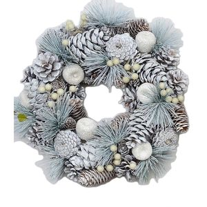Christmas Wreath 32cm - Frosted Pine Cones & Apples