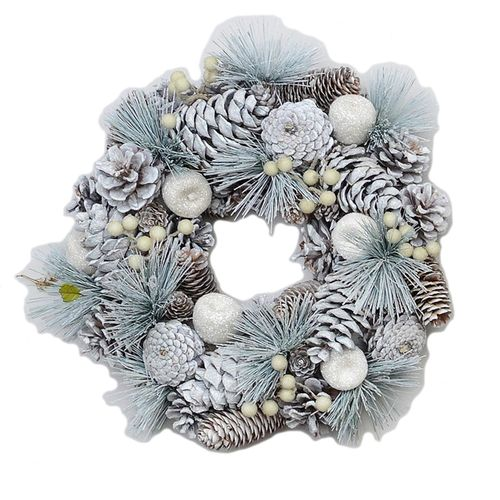 Christmas Wreath 39cm - Frosted Pine Cones & Apples