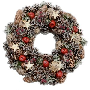 Festive Cone/Star Wreath Natural 39.0cm