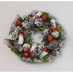 Christmas Wreath 30cm - Frosted Pine Cones & Red Apples