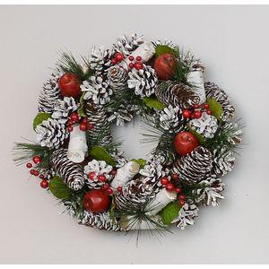 Frosted Cone/Apple Door Wreath 30.0cm