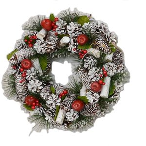 Christmas Wreath 38cm - Frosted Pine Cones & Red Apples