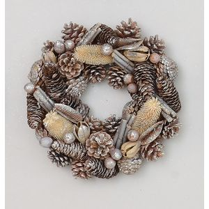 Christmas Wreath 30cm - Glittered Natural Pine Cones
