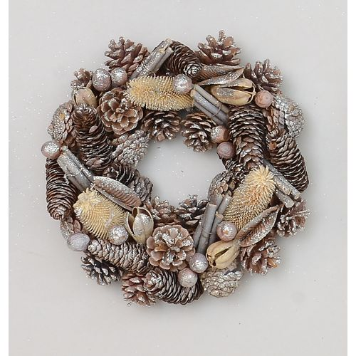 Christmas Wreath - Glittered Natural Pine Cones 30cm