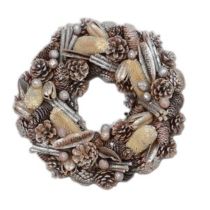 Christmas Wreath 38cm - Glittered Natural Pine Cones