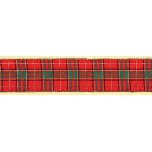 """Christmas Wrappimg - Ribbon Red Tartan 2.5"""" x 10Y"""