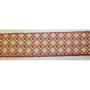 "Hessian Red Hearts Ribbon (2.5""x10Y)"