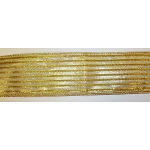 "Christmas Wrapping - Ribbon Gold Stripes 2.5"" x 10Y"