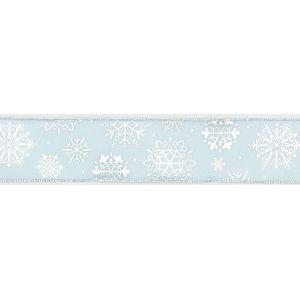 "Christmas Wrapping - Ribbon Blue/Silver Sheer Snowflake 10Y x 2.5"""
