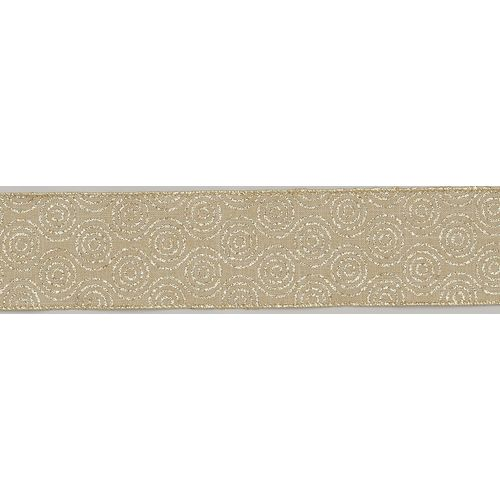 """Christmas Wrapping - Ribbon Gold Swirl 2.5 """" x 10Y"""