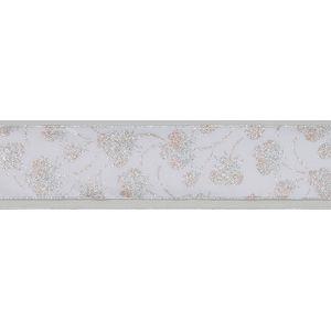 """Floral Ribbon Silver & white (2.5""""x10Y)"""