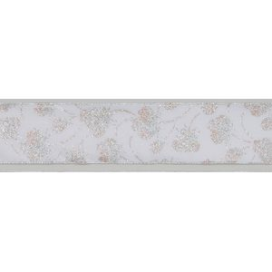 """Gift Wrapping - Ribbon Silver & White Floral 2.5"""" x 10Y"""