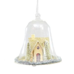 Christmas Tree Hanging Decoration - Glass Bell with Festive Scene