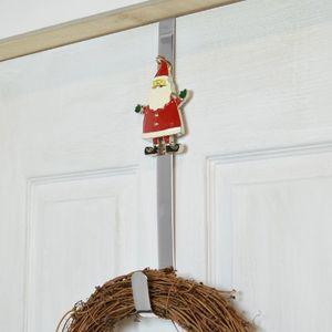 Metal Christmas Wreath Door Hanger - Santa