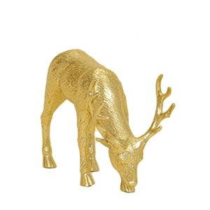 Standing Reindeer Gold Ornament 6.5""