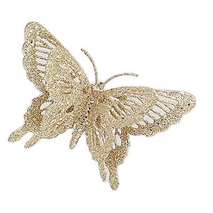 "6"" Butterfly Clip On Decoration Set of 4 (pale gold)"