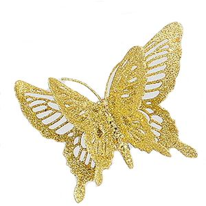 "6"" Butterfly Clip on Decoration Set of 4 (gold)"